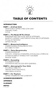 The content page from The Beginner's Guide to Life on the Bright Side